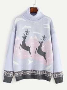 Purple Turtleneck Drop Shoulder Christmas Ugly Sweater
