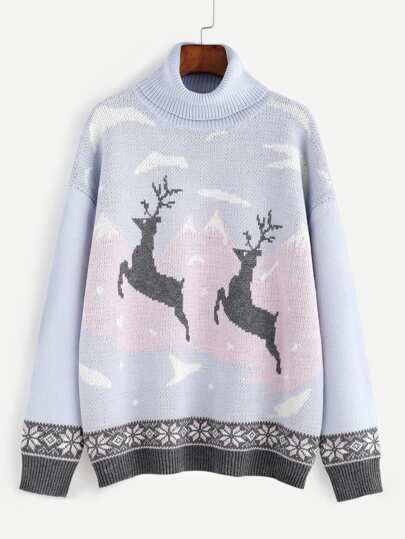 Purple Turtleneck Drop Shoulder Christmas Ugly Sweater
