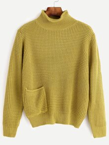 Yellow Waffle Knit Sweater With Pocket