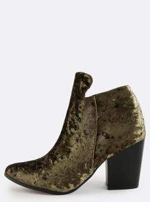 Pointed Toe Crushed Velvet Booties OLIVE