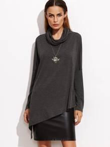 Dark Grey Cowl Neck Drop Shoulder Asymmetric T-shirt