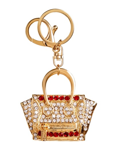 Gold Plated Mini Handbag Rhinestone Keychain