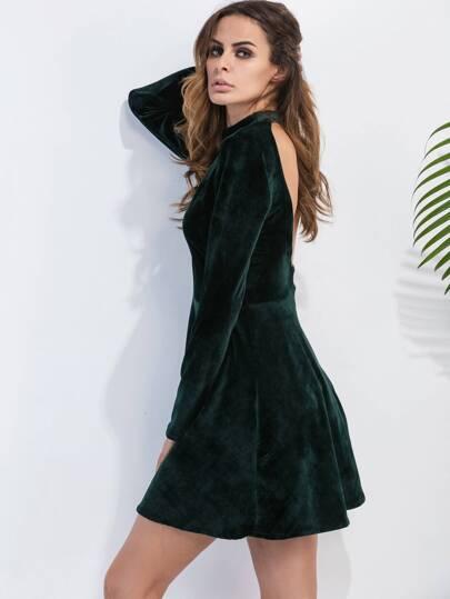 Dark Green Backless Velvet A Line Dress