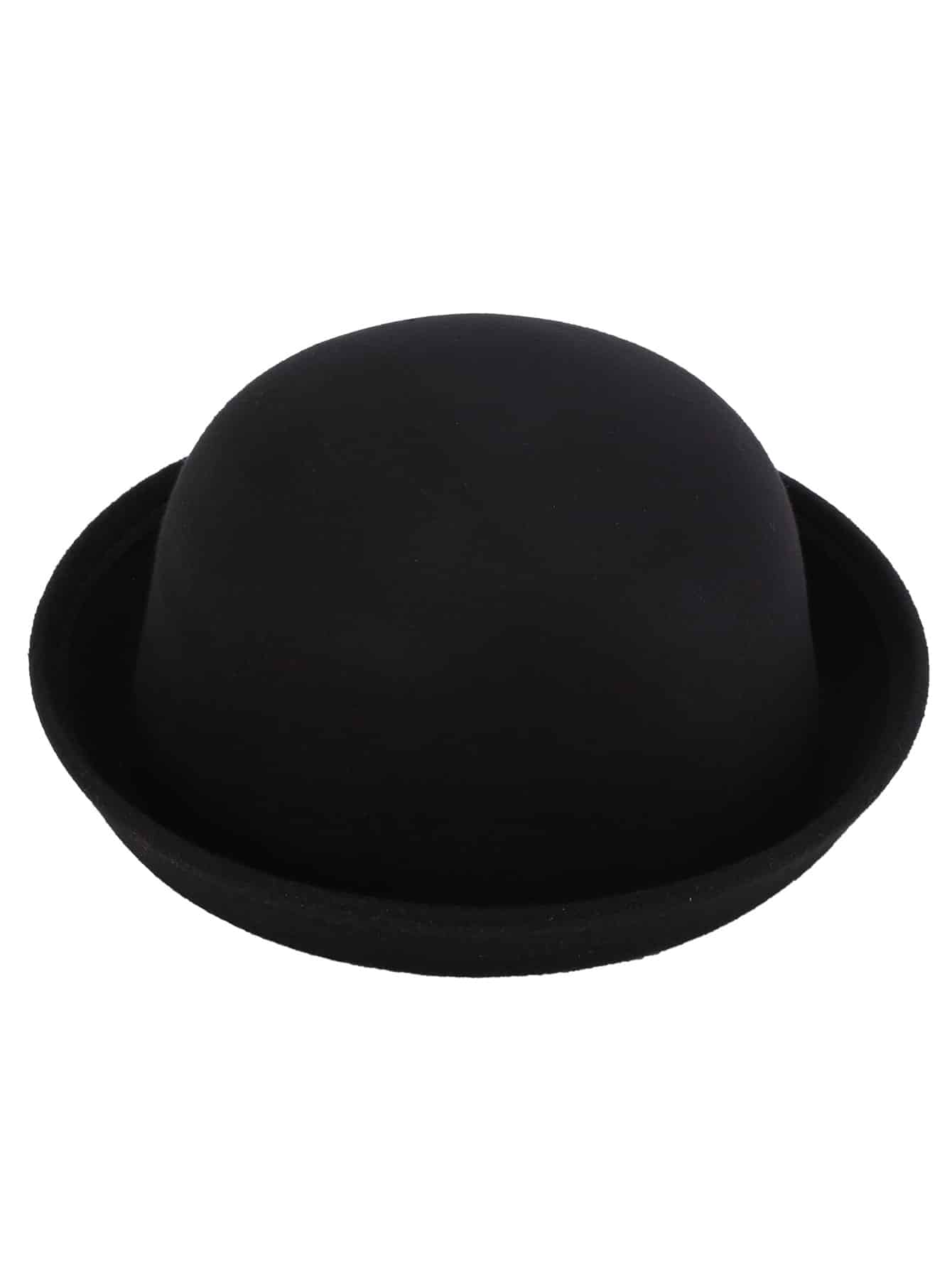 black vintage felt bowler hat shein sheinside. Black Bedroom Furniture Sets. Home Design Ideas