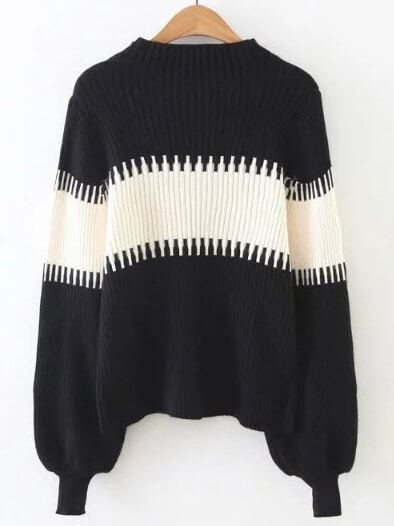 Color Block Lantern Sleeve Ribbed Sweater sweater161015224