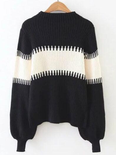 Color Block Lantern Sleeve Ribbed Sweater sweater161015224