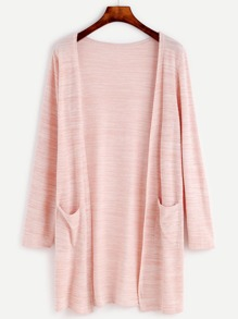 Pink Long Sleeve Coat With Pockets