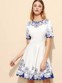 White Floral Scalloped Hem Skater Dress