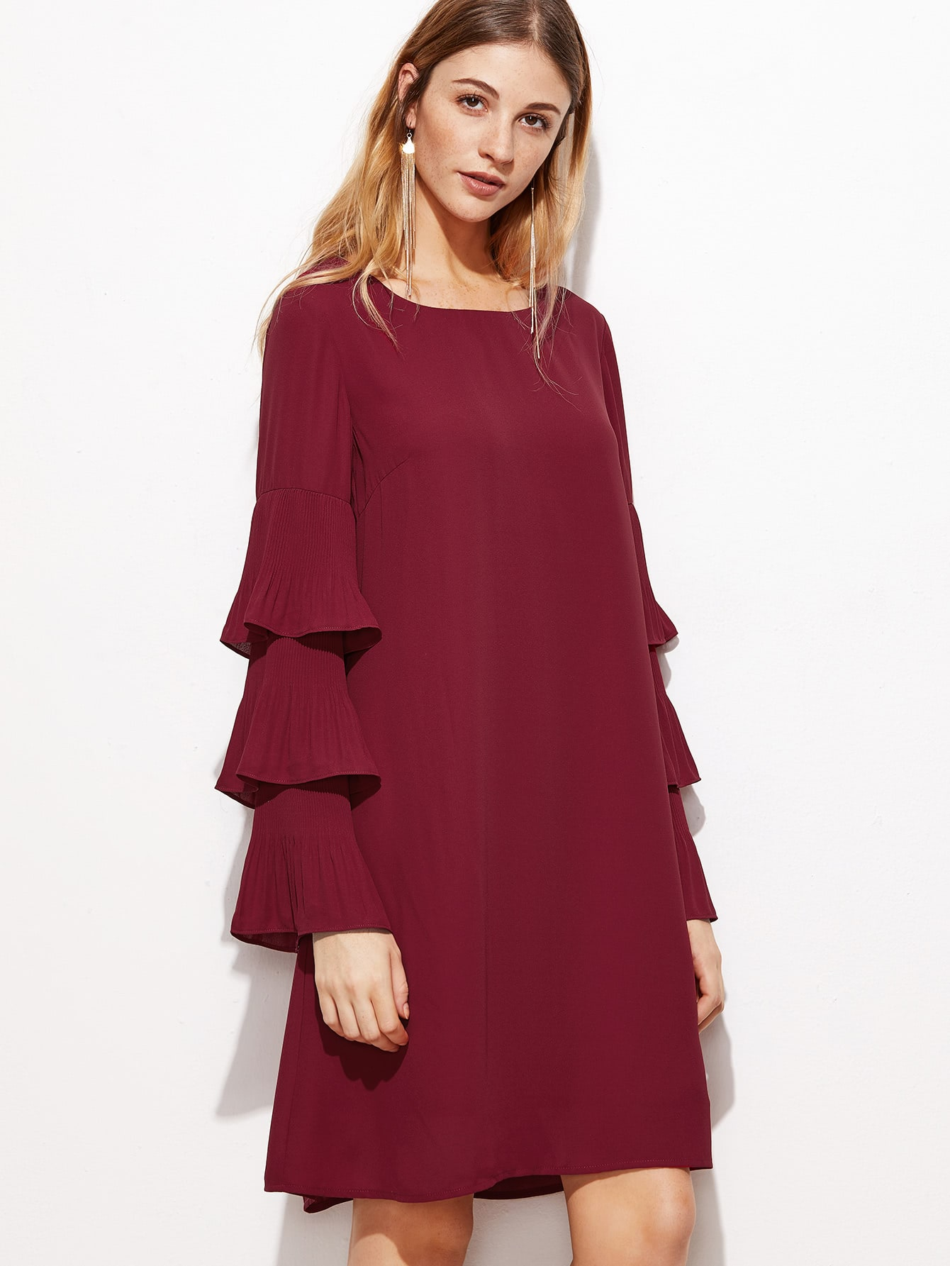 Фото Layered Frill Sleeve Tunic Dress. Купить с доставкой
