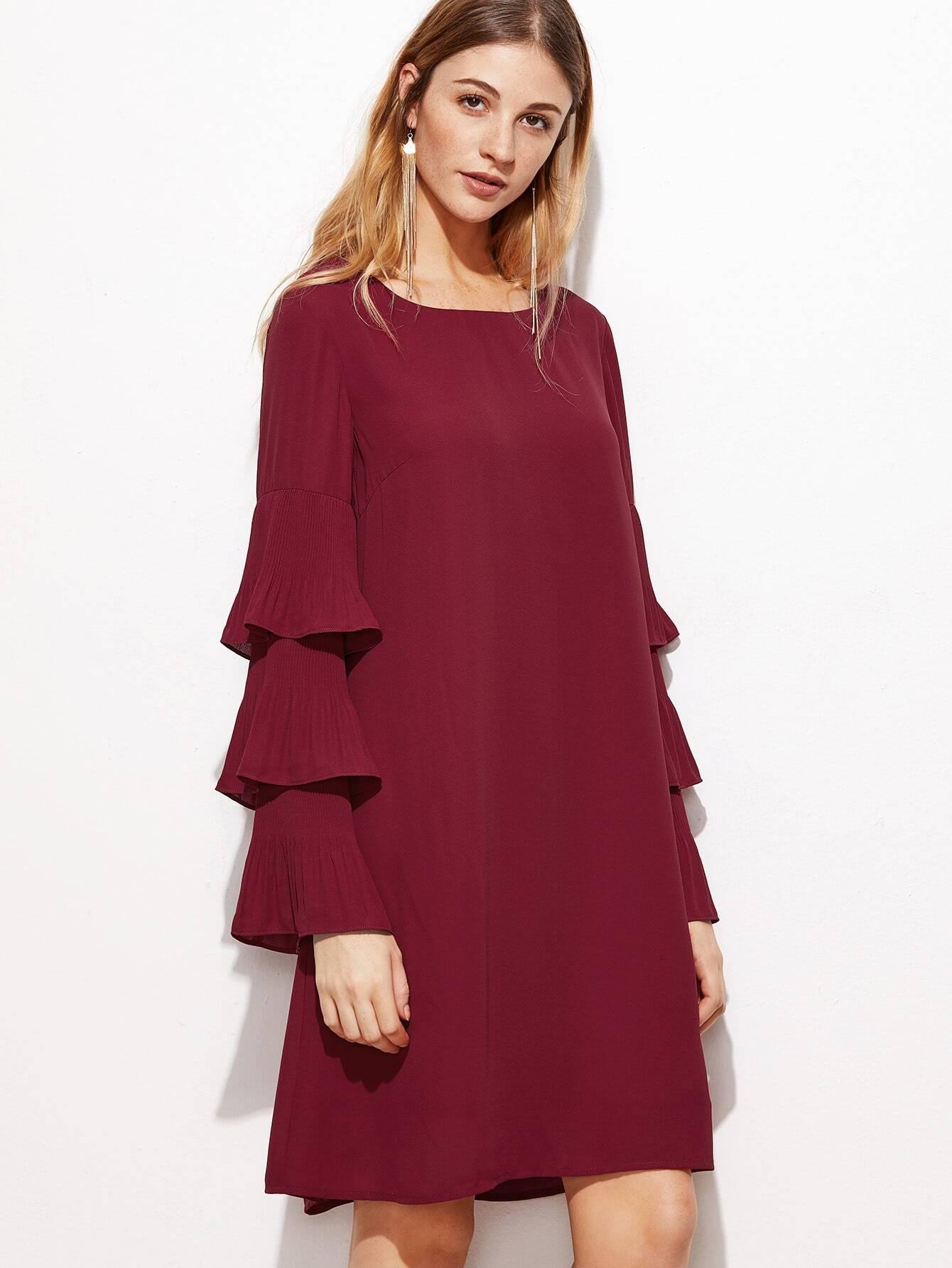 Layered Frill Sleeve Tunic Dress dress161028709