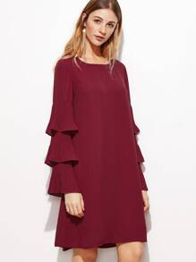 Burgundy Layered Ruffle Sleeve Tunic Dress