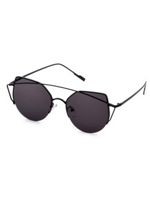 Black Frame Double Bridge Cat Eye Sunglasses