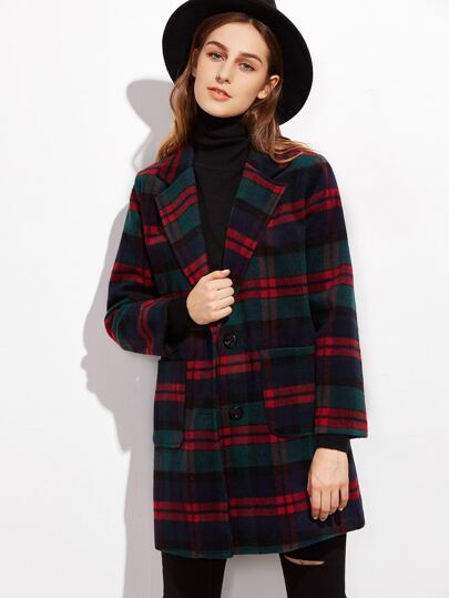 Tartan Plaid Single Breasted Coat