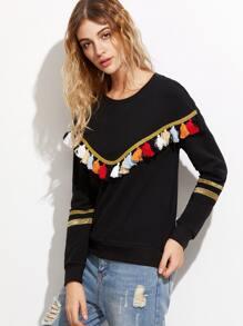 Black Tassel Trim Glitter Striped Sleeve Sweatshirt