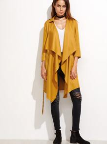 Yellow Waterfall Collar Belted Coat
