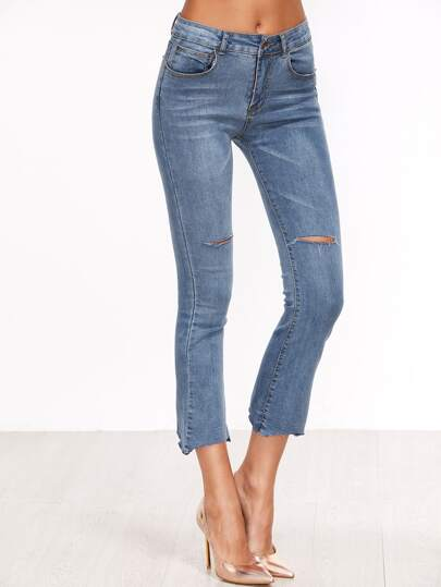 Blue Ripped Detail Crop Jeans