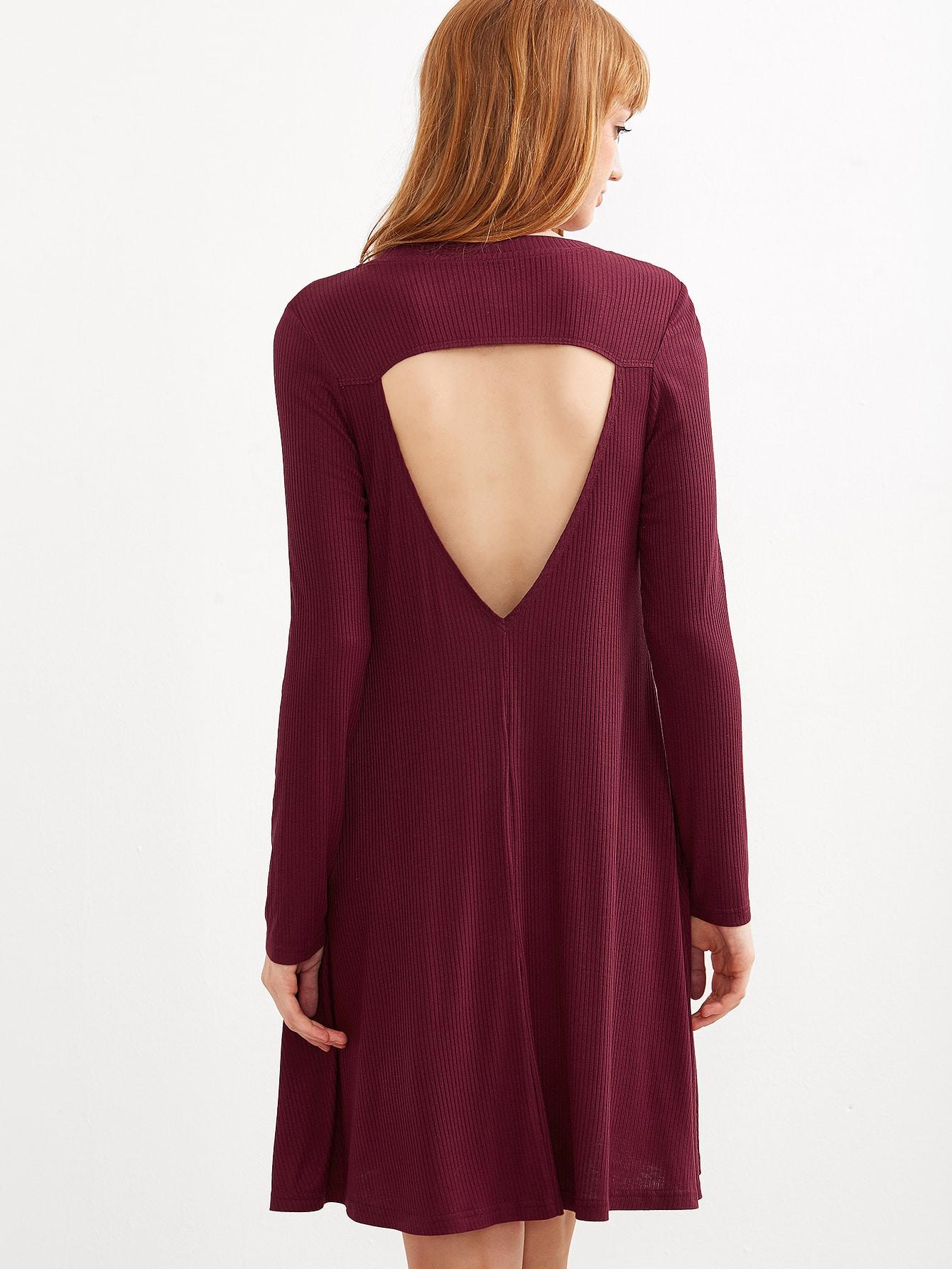 Burgundy Open Back Ribbed Swing Dress dress160913701