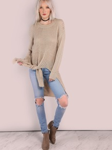Double Slit Knit Sweater TAUPE
