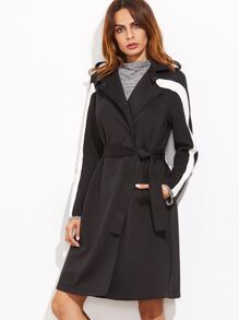 Black Contrast Panel Hidden Button Belted Trench Coat