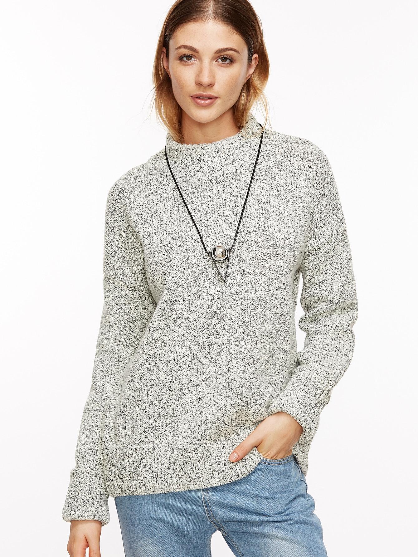Heather Grey Drop Shoulder Cuffed Sweater sweater161031115