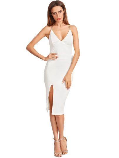 Split Side Lattice Back Fitted Dress