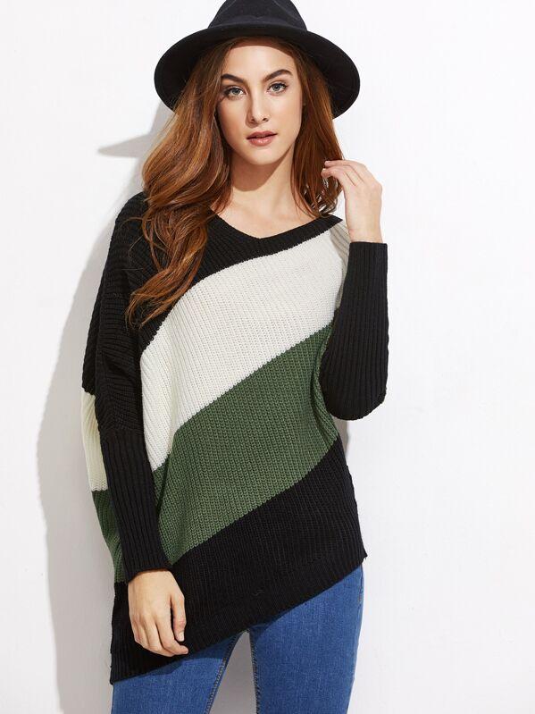Color Block Asymmetric Dolman Sleeve Sweater, Lisa Marie