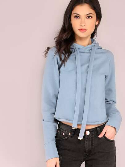 Cropped Pocketless Row Hem Raglan SLeeve Hooded Sweatshirt
