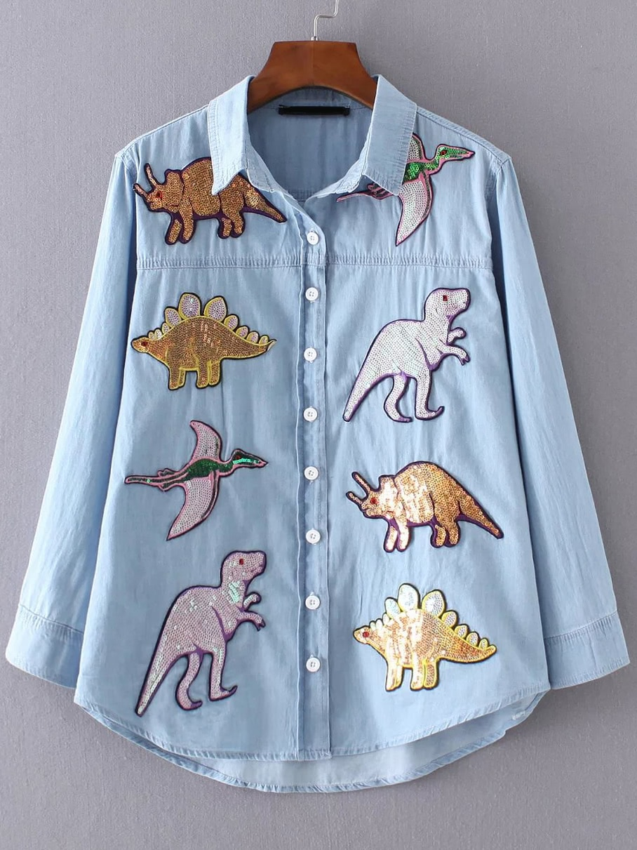 Sequin Dinosaur Dip Hem Shirt