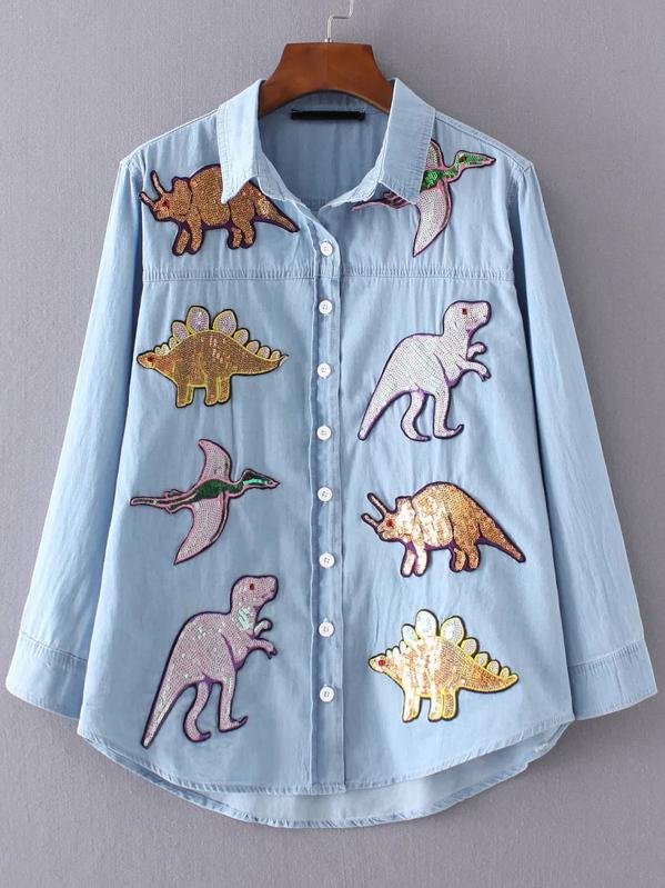 Sequin Dinosaur Dip Hem Shirt, null