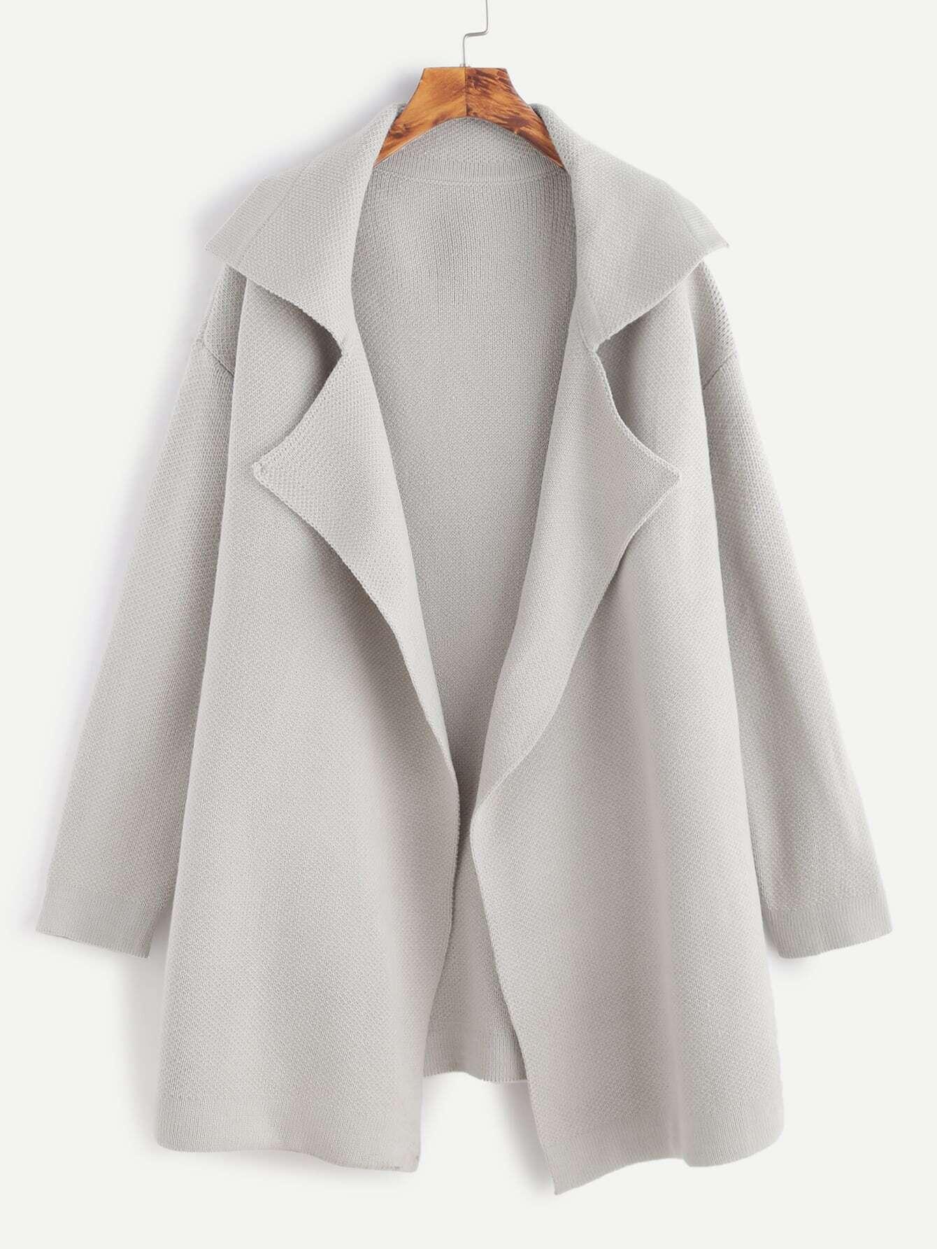 Grey Notch Collar Drop Shoulder Sweater Coat sweater160926456