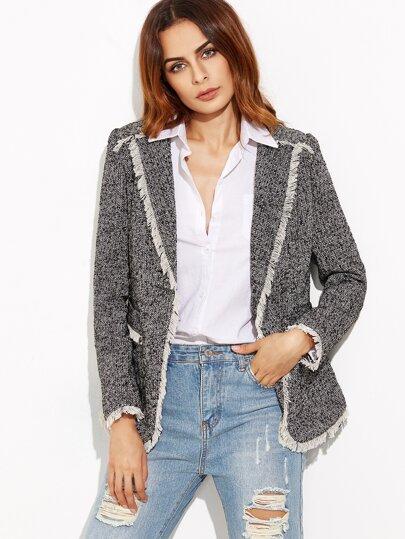 Tweed Blazer With Contrast Fringe Trim