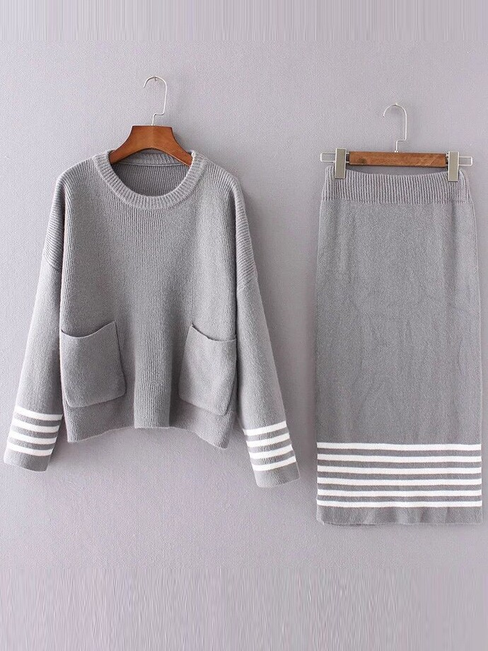 Grey Striped Front Pocket Sweater With Skirt twopiece161007201