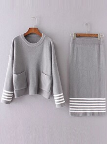 Grey Striped Front Pocket Sweater With Skirt