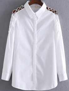 White Sharp Collar Caged Shoulder Blouse