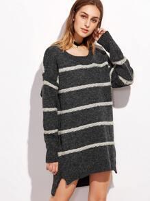 Dark Grey Striped Slit Side High Low Sweater Dress
