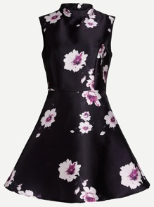 Black Floral Print High Neck Sleeveless Flare Dress