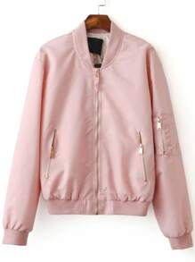 Pink Zipper Up Bomber Jacket