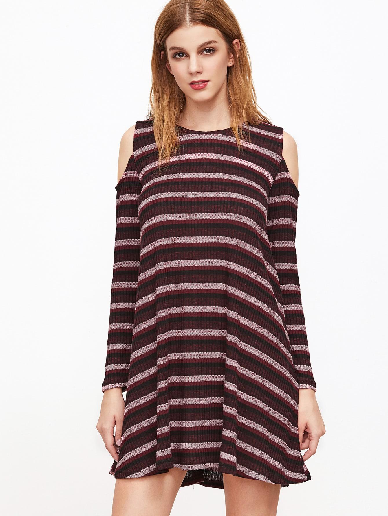 Burgundy Striped Cold Shoulder Shift DressBurgundy Striped Cold Shoulder Shift Dress<br><br>color: Burgundy<br>size: L,M,S