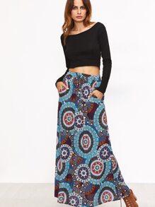 Blue Tribal Print Drawstring Waist Skirt