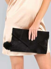 Pom Pom Velvet Clutch BLACK