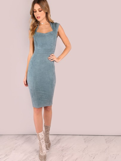 Suede Queen Anne Midi Bodycon Dress
