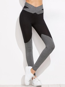 Contrast Crossover Belted Leggings