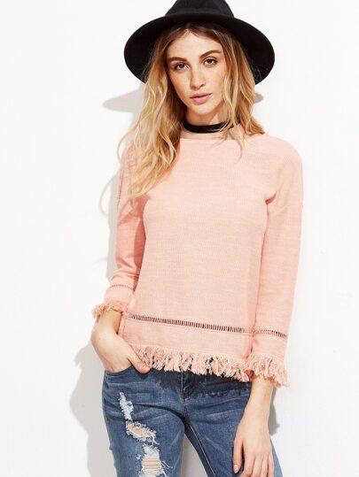 Pink Eyelet Crochet Insert Fringe Trim Top