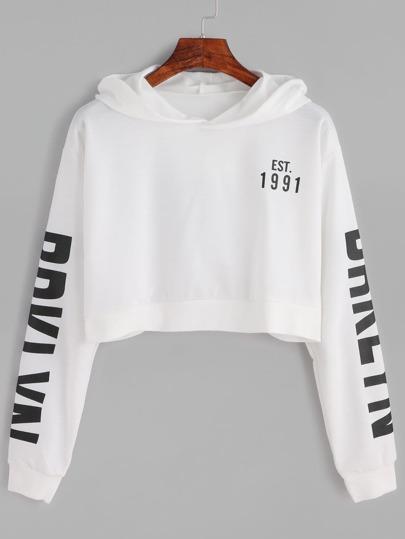 Letter print crop hoodie sheinsheinside for Letters for sweatshirts