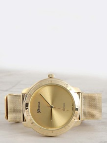 Metallic Round Face Watch GOLD