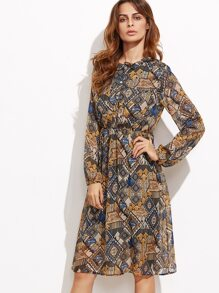 Ornate Print Elastic Waist Chiffon Shirt Dress