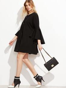 Black Collarless Hidden Button Oversized Bell Sleeve Coat