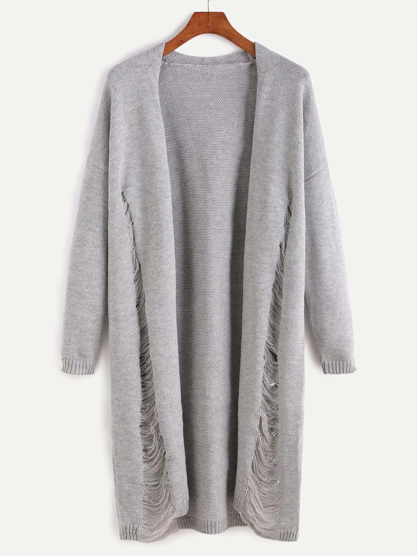 Grey Drop Shoulder Open Front Ripped Back Sweater Coat sweater160810705