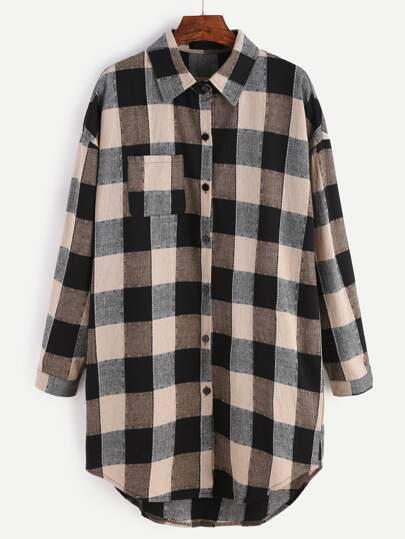 Gingham Drop Shoulder Curved Hem Shirt Dress