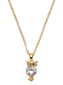 Gold Plated Rhinestone Owl Pendant Necklace